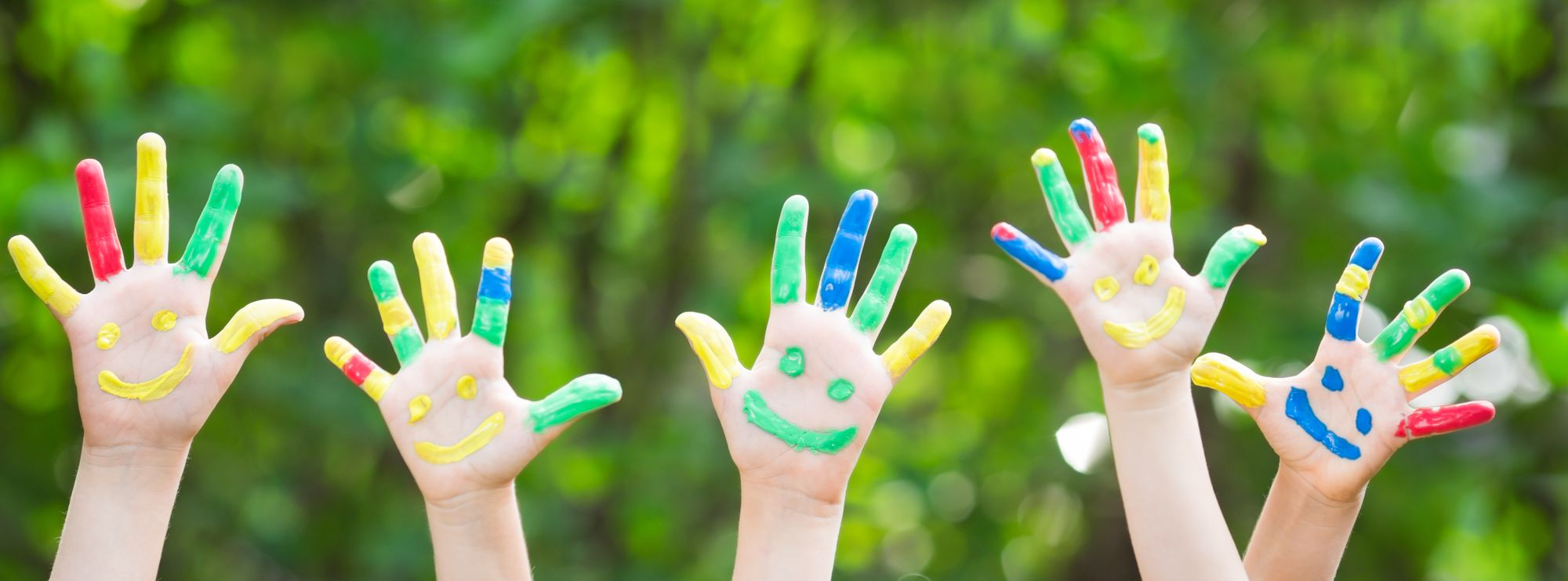 Kids painted hands